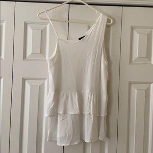 White, one shoulder blouse!